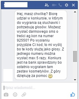 sms facebook oszustwo płock