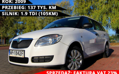 Skoda Fabia II 1.9 TDi – 2009 r. – F-VAT – 137 tys.km